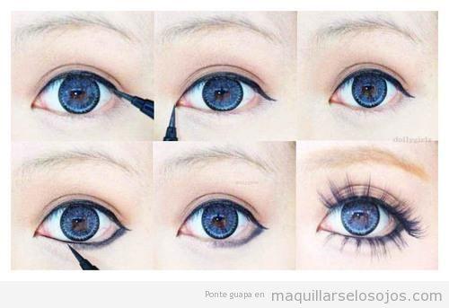 Tutorial para maquillarse los ojos estilo koreano, japonés, j-pop, paso a paso