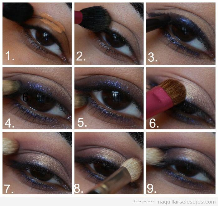 Tutorial paso a paso, maquillaje de ojos en violeta y dorado