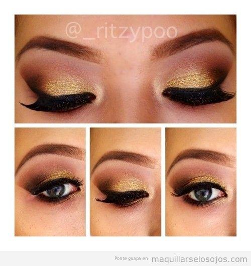 Maquillaje de ojos dorado y negro para fiesta