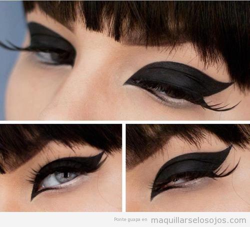 Maquillaje de ojos con párpado inferior en negro