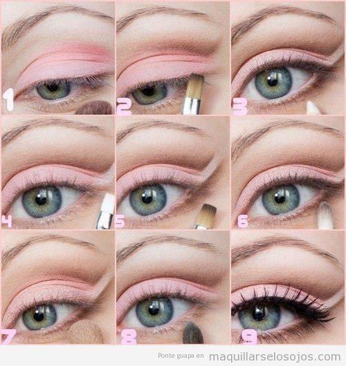 Maquillaje de ojos en tonos rosas, aprender paso a paso
