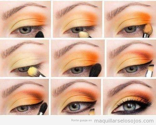 Tutorial paso a paso, maquillaje de ojos en amarillo y  naranja para verano