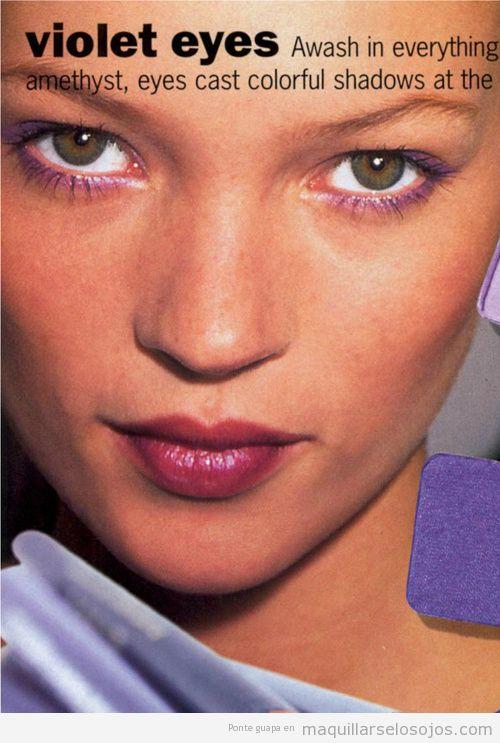 Maquillaje de ojos violeta, Kate Moss, Vogue 1995