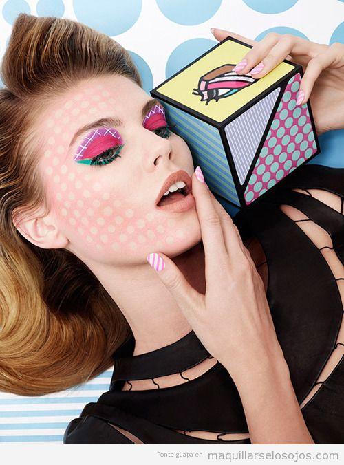 Maquillaje de ojos y cara estilo comic pop art