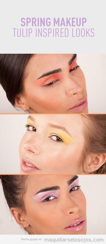 Maquillaje ojos inspirado colores del tulipán, primavera 2013