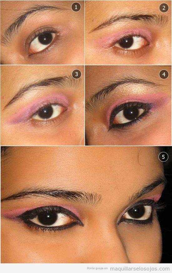 Tutorial sencillo, maquillar paso a paso sombra rosa