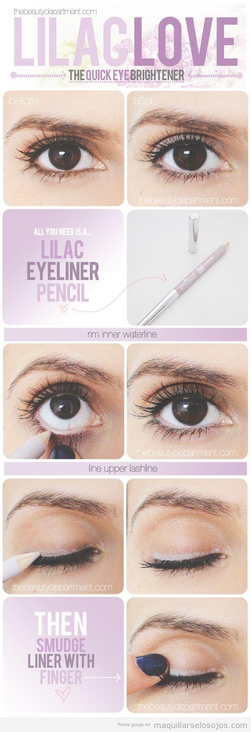 Maquillaje de ojos con eyeliner lila, paso a paso