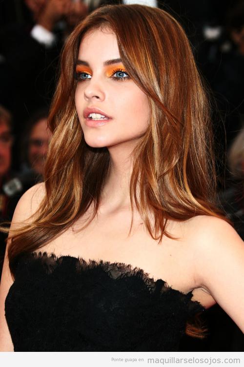 Maquillaje de ojos en tonos naranjas, Bárbara Palvin, Cannes 2013