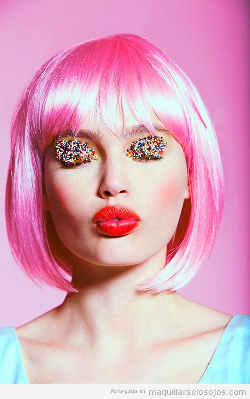 Maquillaje de ojos original de fantasía, bolitas de caramelo