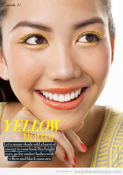 Maquillaje de ojos con sombras y pestañas color amarillo