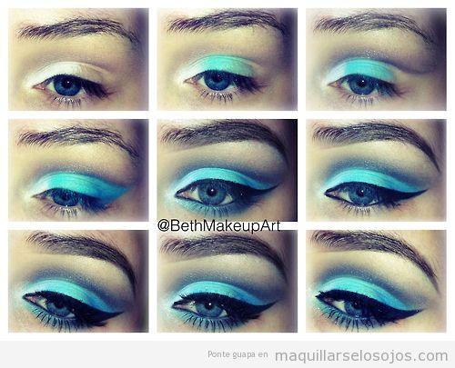Tutorial paso a paso para aprender a maquilar ojos en tonos azules