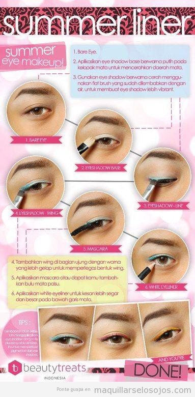 Tutorial paso a paso, maquillaje de verano con eyeliner azul
