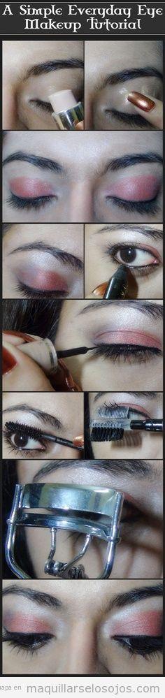 Maquillaje de ojos en tono coral brillante, tutorial paso a paso