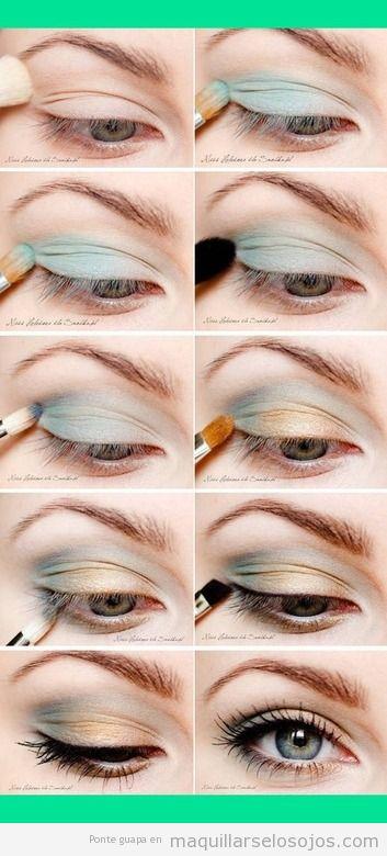 Tutorial paso a paso, maquillaje de ojos en tonos naranja y azules pastel