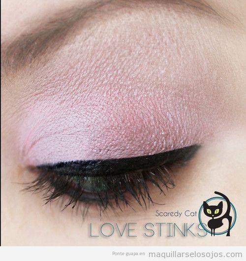 Maquillaje de ojos en tonos rosas, dulce y soft