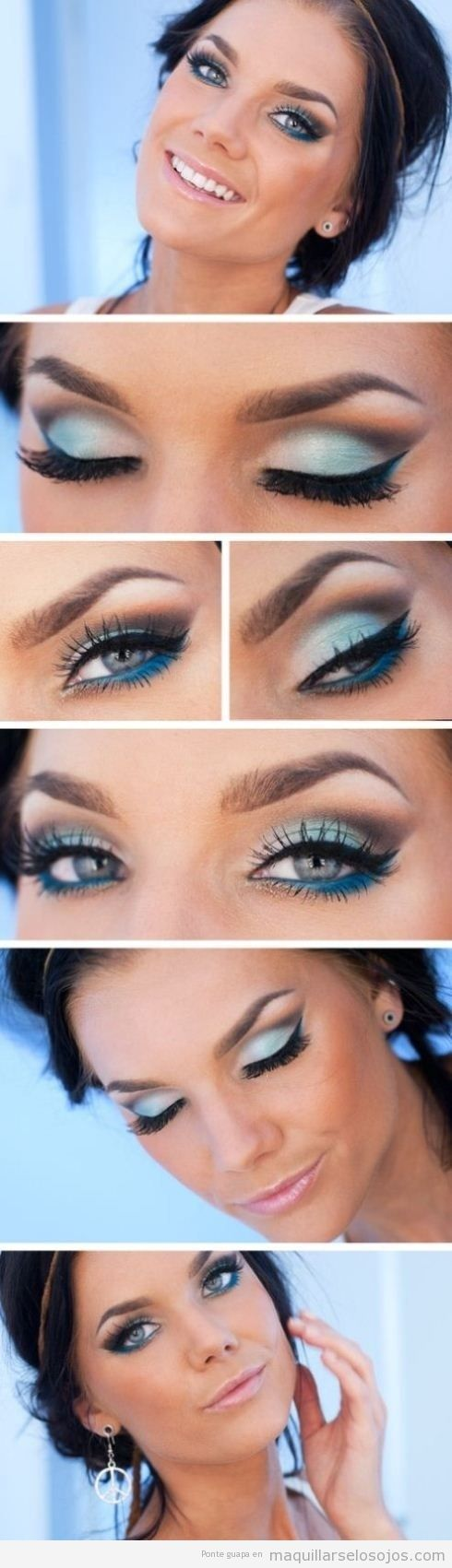 Maquillaje de ojos en tonos azules para ojos azules y ojos verdes