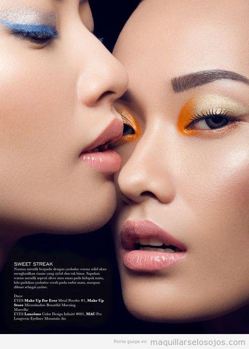Maquillaje de ojos en naranja y dorado, verano 2013