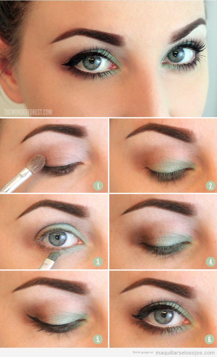 tutorial para maquillar ojos con tonos verdes paso a paso verano