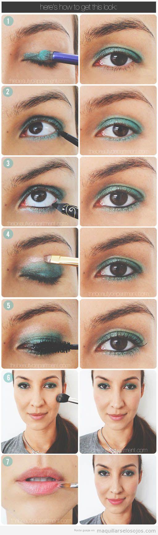 Maquillaje de ojos paso a paso en tonos verdes, primavera verano 2013