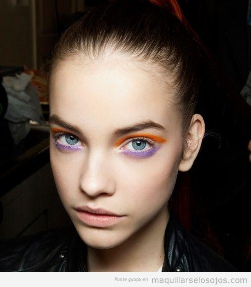 Maquillaje de ojos para verano, naranja y lila para verano