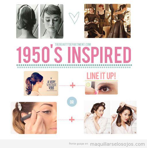 Maquillaje de ojos, eyeliner y peinado inspirado en los años 50