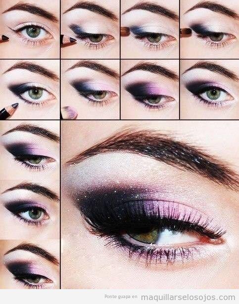 Tutorial paso a paso, maquillaje de ojos ahumado galaxia