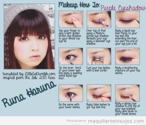 Cómo aplicar sombra de ojos lila, tutorial paso a paso