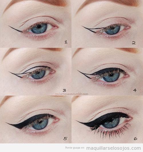 Tutorial para aprender a maquillar y pintar la línea del ojo con rabillo, paso a paso