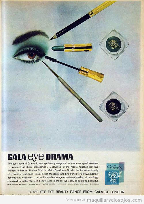 Maquillaje de ojos retro e una revista de 1965