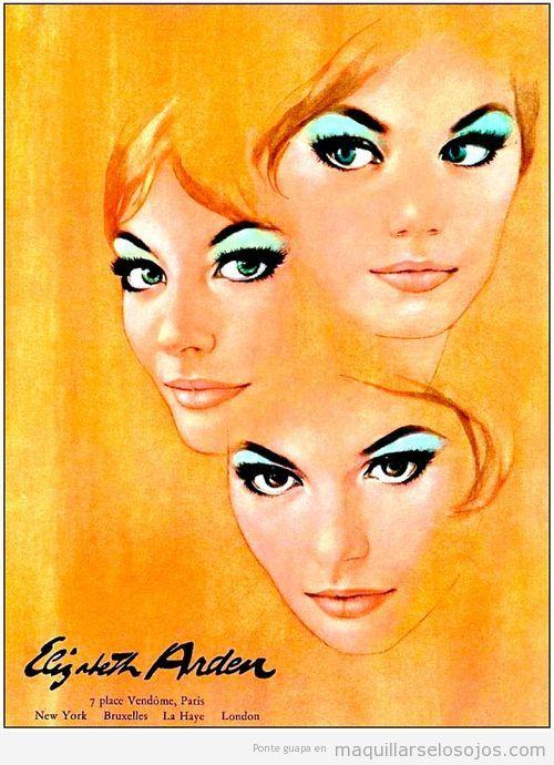 Anuncio de maquillaje de ojos en los años 60
