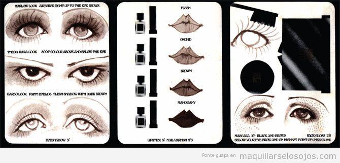 Maquillaje de ojos, Biba cosmetics, estilo retro y vintage