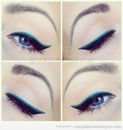 Eyeline doble en negro y azul