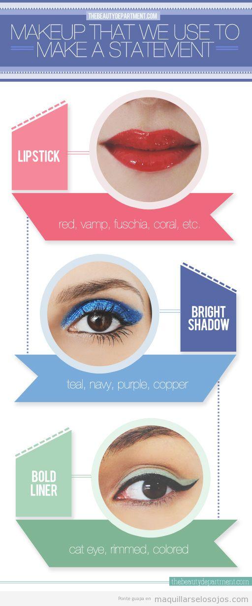 Maquillaje de ojos impresionante, en azul brillante o estilo vintage