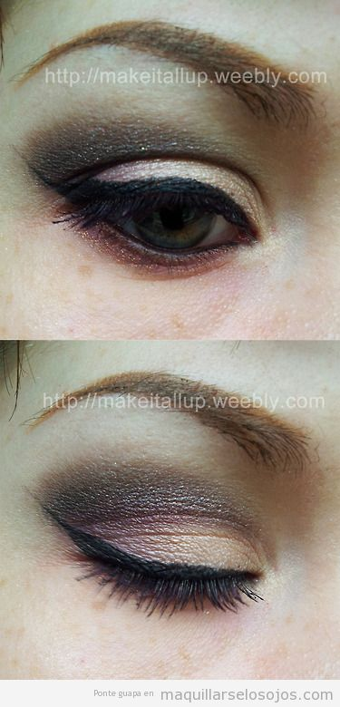 Maquillaje de ojos neutral  elegante, toque lila