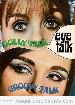 Anuncio revista maquillaje de ojos años 60 Max Factor