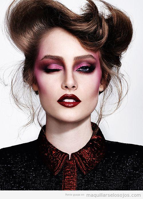 Maquillaje de ojos en rosa metálico ahumado para otoño 2014