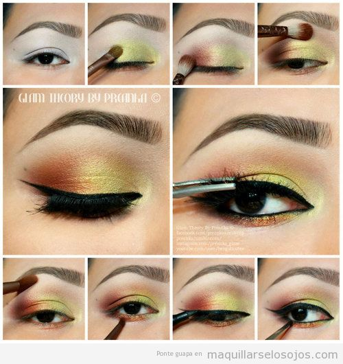 Tutorial, maquillaje paso a paso e amarillo y naranja