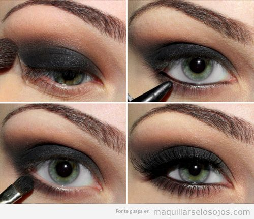 Tutorial paso a paso, maquillaje de ojos ahumado en negro