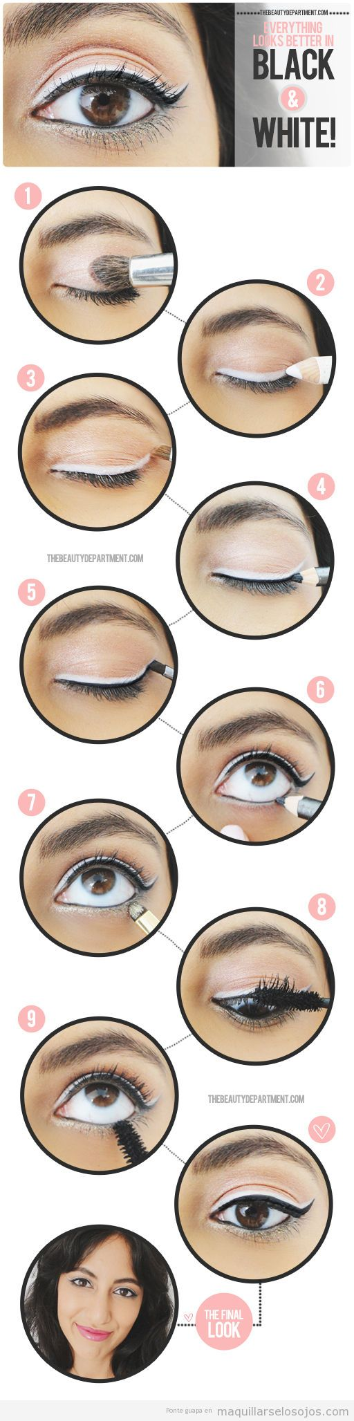 Perfilado de ojos, eyeline en negro y blanco, tutorial paso a paso