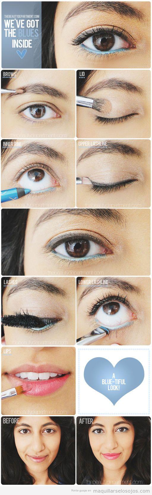 Tutorial maquillaje de ojos con la línea del agua en color azul, paso a paso