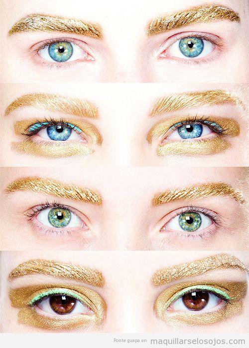 Maquillaje de ojos con cejas doradas y sombra turquesa, Dior Primavera Verano 14