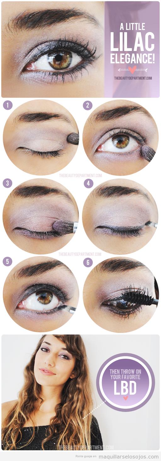 Tutorial paso a paso para aprender a maquillar los ojos paso a paso en tonos lilas