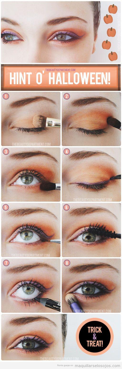 Tutorial paso a paso, maquillar los ojos en naranja y morado