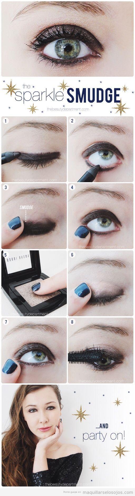 Maquillaje de ojos para fiesta en ahumado y purpurina, paso a paso