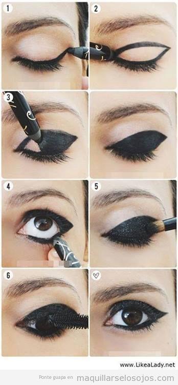 Tutorial maquillaje ojos paso a paso en negro  brillante
