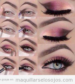 Tutorial paso a paso, maquillaje de ojos en rosa y marrón