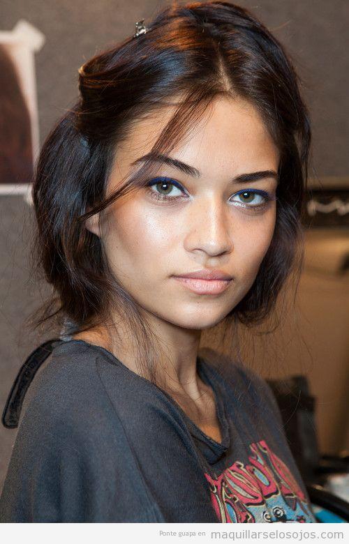 Maquillaje de ojos con eyeliner azul klein, modelo Shanina Shaik