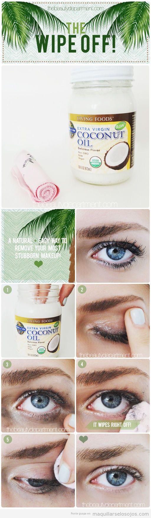Truco, desmaquillar ojos con aceite de coco