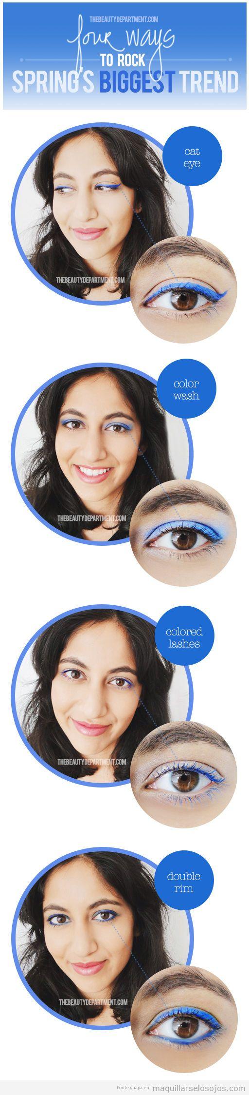 Tutorial a paso para aprender a maquillar los ojos con eyeliner azul eléctrico