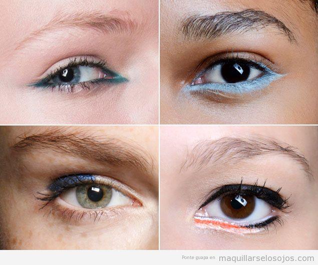 Ideas de maquillaje de ojos perfilados con colores azul y naranja